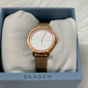 "Skagen Rose Gold Mesh Band Watch 1"" Face SKW2826"